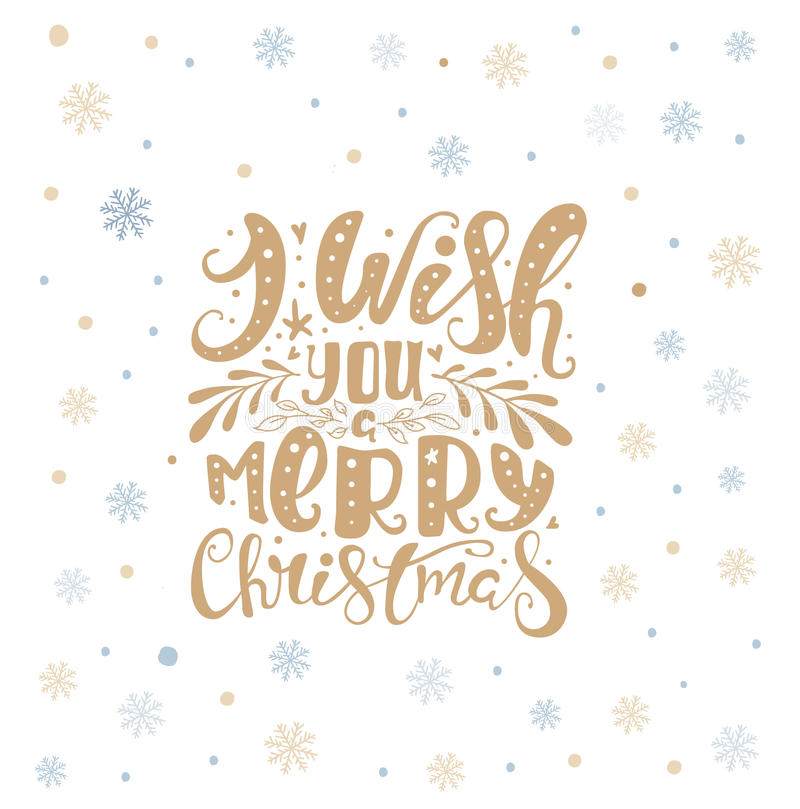 Merry christmas lettering over with snowflakes. Hand drawn text, calligraphy for your design. xmas design overlay elements. Isolated on white backgground. Eps10 royalty free illustration