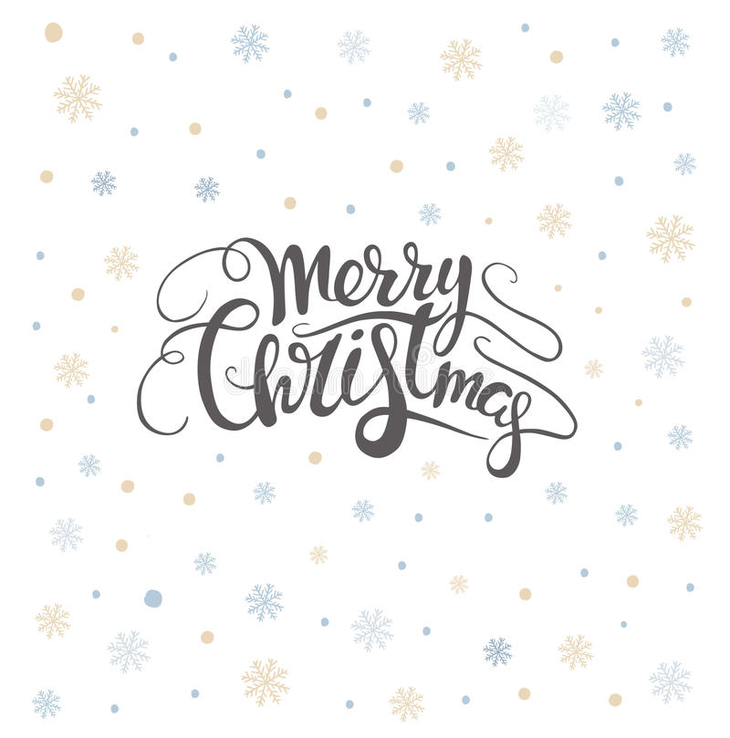 Merry christmas lettering over with snowflakes. Hand drawn text, calligraphy for your design. xmas design overlay elements. Isolated on white backgground. Eps10 stock illustration