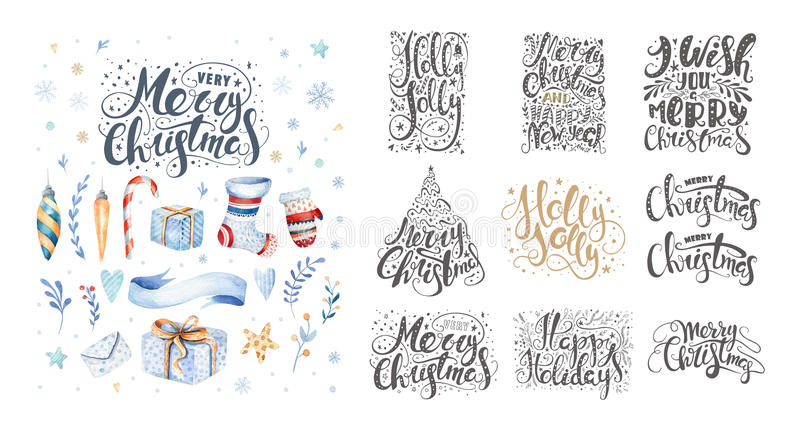 Merry christmas lettering over with snowflakes. Hand drawn text, calligraphy for your design. xmas design overlay elements. Isolated on white background stock illustration