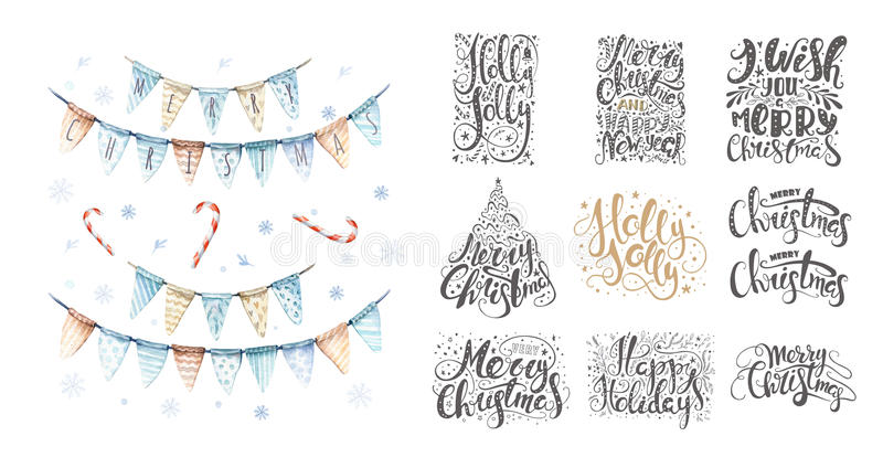 Merry christmas lettering over with snowflakes. Hand drawn text, calligraphy for your design. xmas design overlay elements. Isolated on white backgground stock illustration