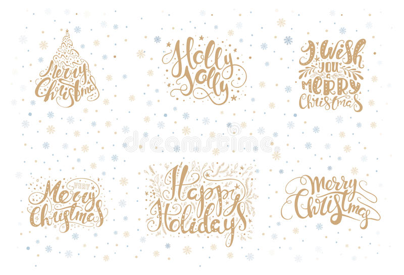 Merry christmas lettering over with snowflakes. Hand drawn text, calligraphy for your design. xmas design overlay elements. Isolated on white backgground. Eps10 vector illustration