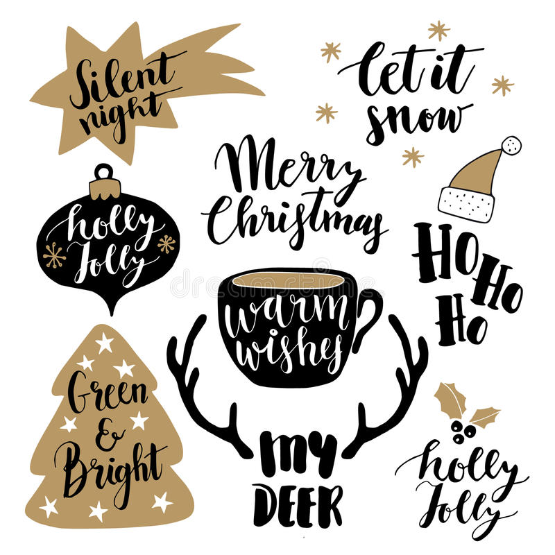 Merry Christmas lettering set. Hand lettered quotes for greeting cards, gift tags. Typography collection. Vector. stock illustration