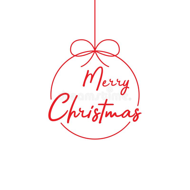 Merry Christmas lettering template. Red template Merry Christnas on white backgroun. Merry Christmas template for greeting card royalty free illustration