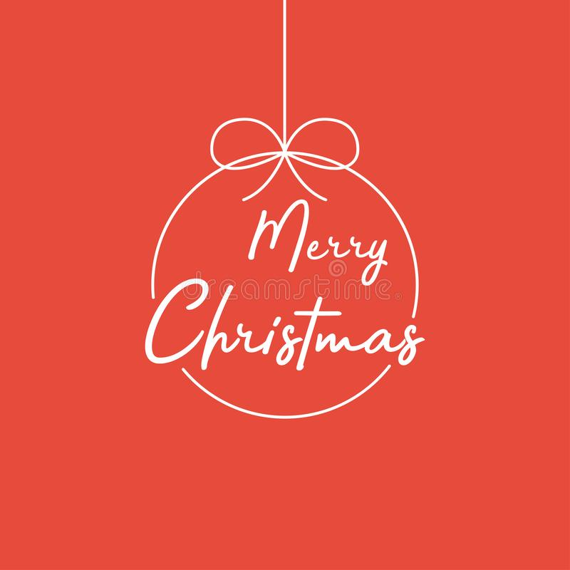 Merry Christmas lettering template. White template Merry Christnas on red backgroun. Merry Christmas template for greeting card stock illustration