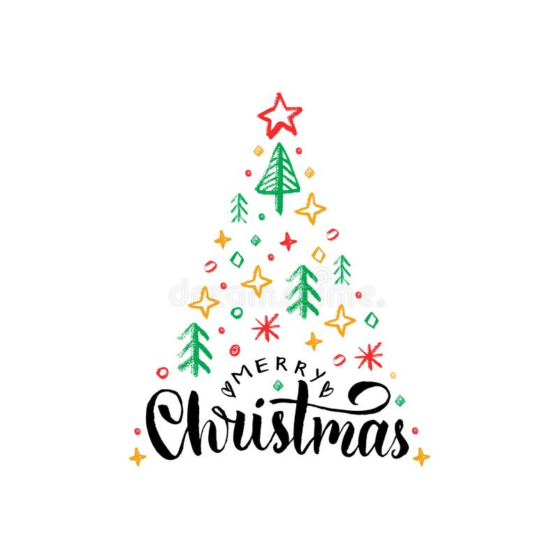 Merry Christmas lettering on white background.Vector hand drawn illustration of spruce tree.Happy Holidays greeting card royalty free illustration