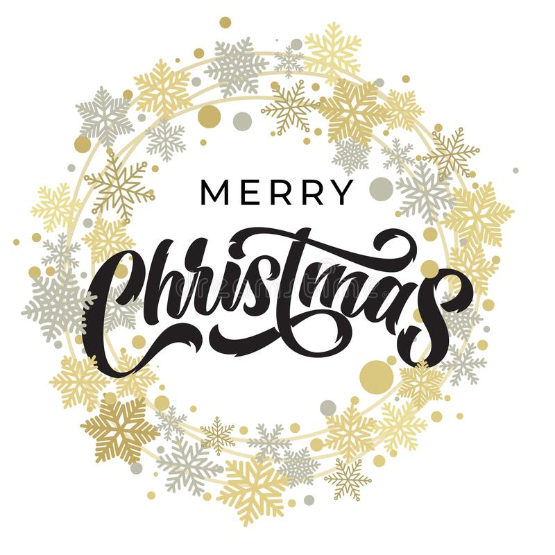 Free Merry Christmas Lettering With Golden And Silver Snowflake Ornament Pattern, Stars And Wreath Decoration. Merry Christmas Royalty Free Stock Images - 161600119