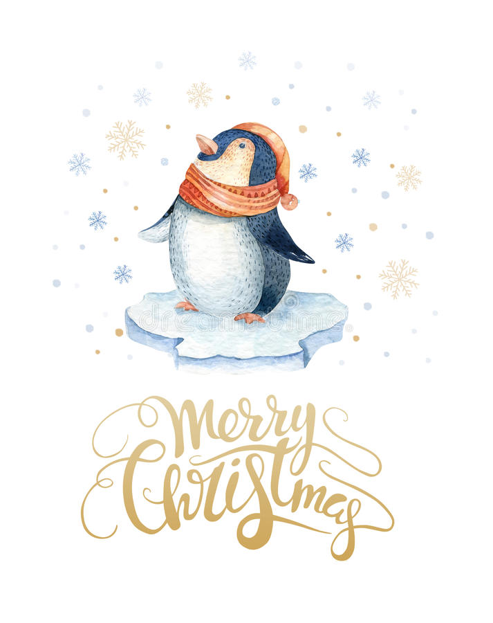 Free Merry Christmas Lettering With Watercolour Fun Pinguin. New Year Card. Stock Photo - 79296250