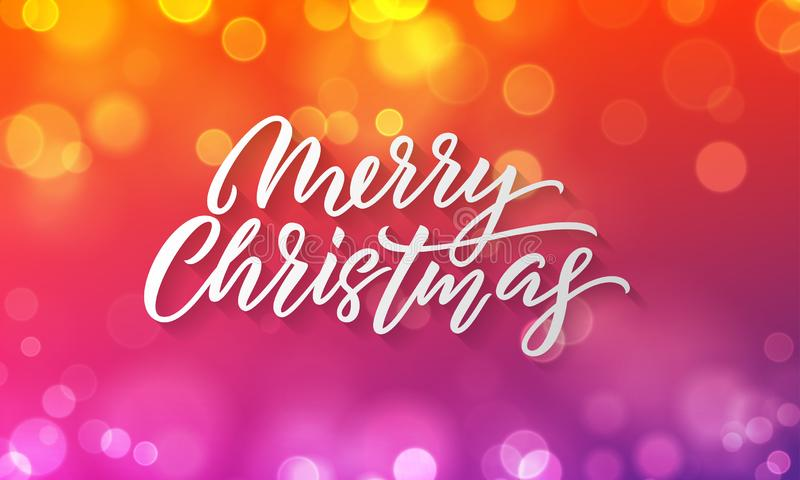 Merry Christmas lettering and Xmas holiday background. Vector Christmas lights sparkles flares royalty free illustration