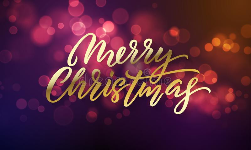 Merry Christmas lettering and Xmas holiday sparkling flares background. Vector Christmas lights sparkles stock illustration