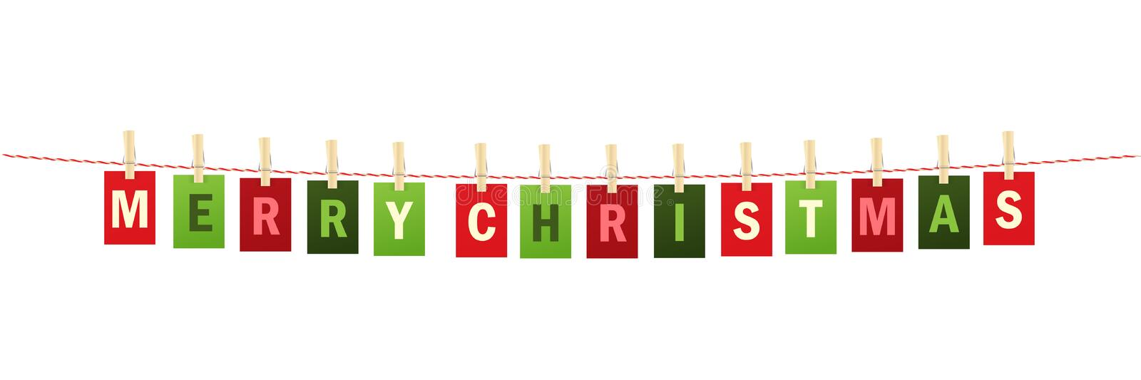 MERRY CHRISTMAS colorful letters pinned to string with pegs stock photo