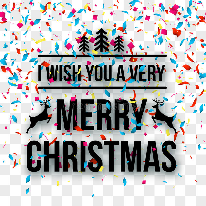 Merry Christmas Letters words on transparent background with confetti. Holiday background.  royalty free illustration