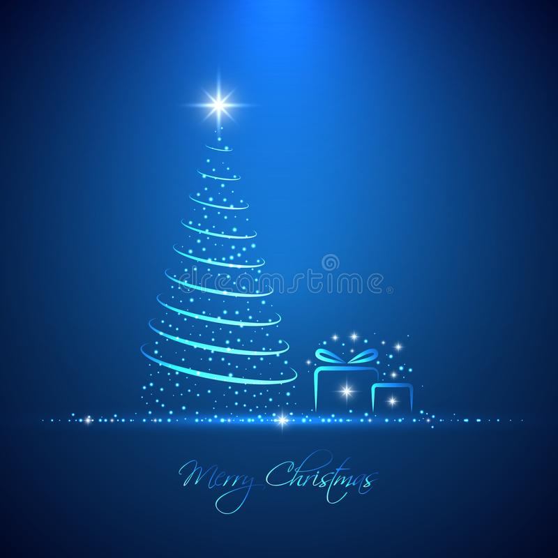 Merry Christmas light background with glowing neon christmas tre stock illustration