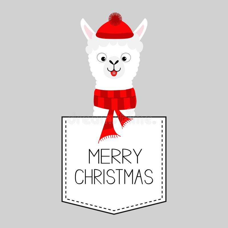 Merry Christmas. LLama alpaca animal. Dash line. Kawaii character. White and black color. T-shirt design. Baby gray background. Flat design. Vector vector illustration