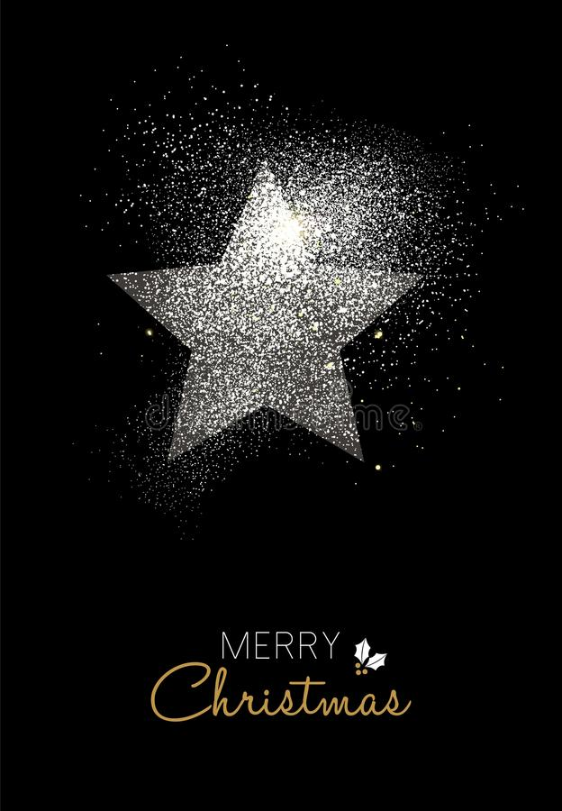 Merry christmas silver glitter star holiday card stock illustration