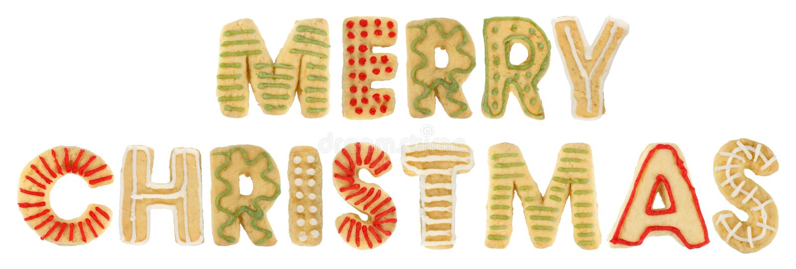 Merry Christmas made of cookies. Merry Christmas script made of homemade decorated cookies royalty free stock photos