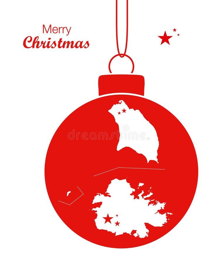 Merry Christmas Map Antigua And Barbuda Stock Illustration