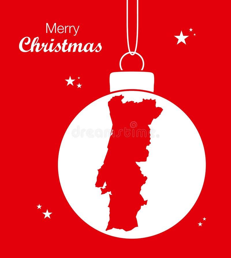 Merry Christmas Map Portugal. Illustration stock illustration