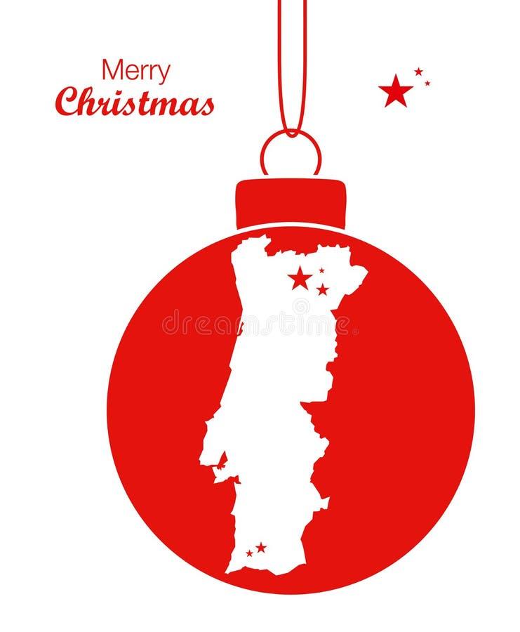 Merry Christmas Map Portugal. Illustration vector illustration