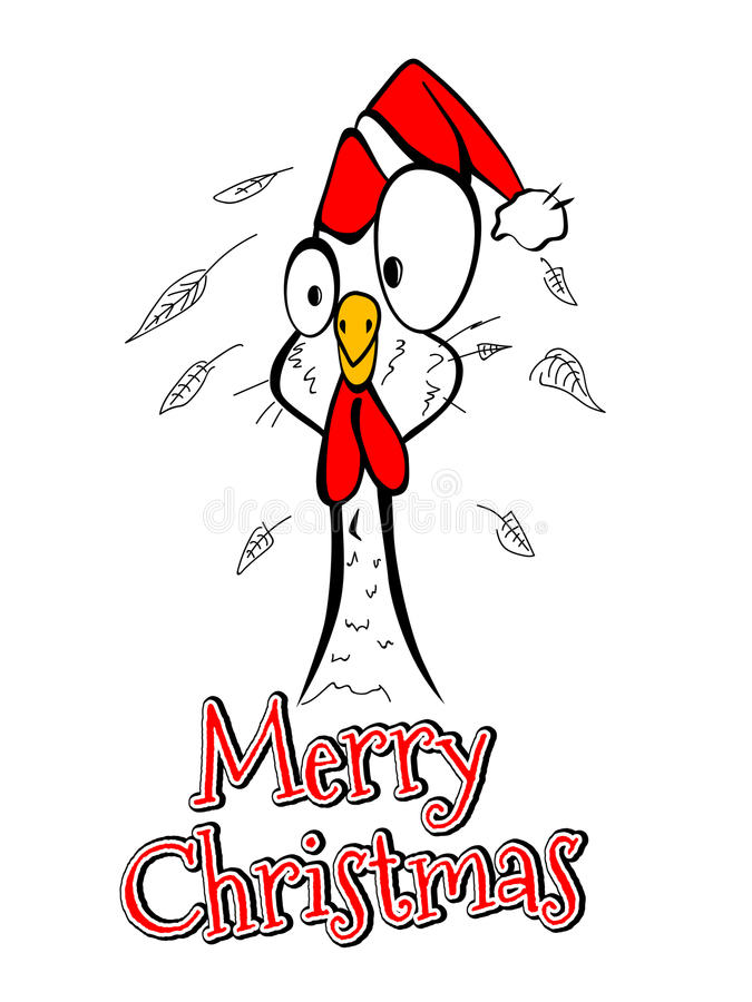 Free Merry Christmas Merry Christmas Year Chicken Rooster Comical Funny Royalty Free Stock Images - 82115209