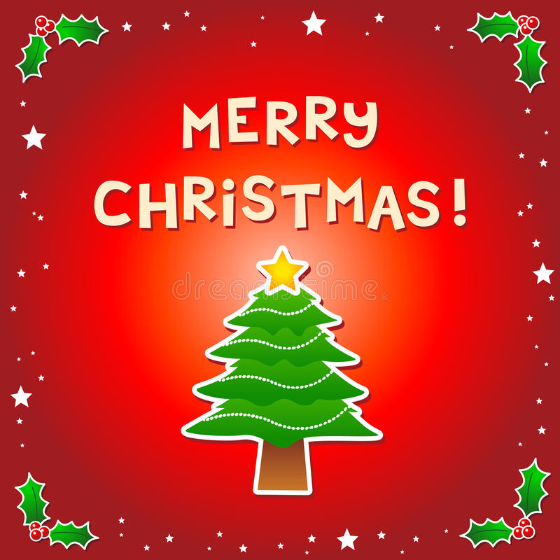 Merry Christmas Message with a Christmas Tree. Assets separated into individual layers vector illustration