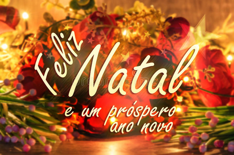 Merry Christmas Message In Portuguese. Flowers And Lights ...