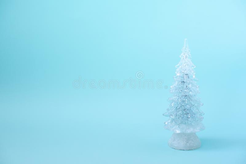 Merry Christmas message with Christmas tree in a glass Jar.  stock images