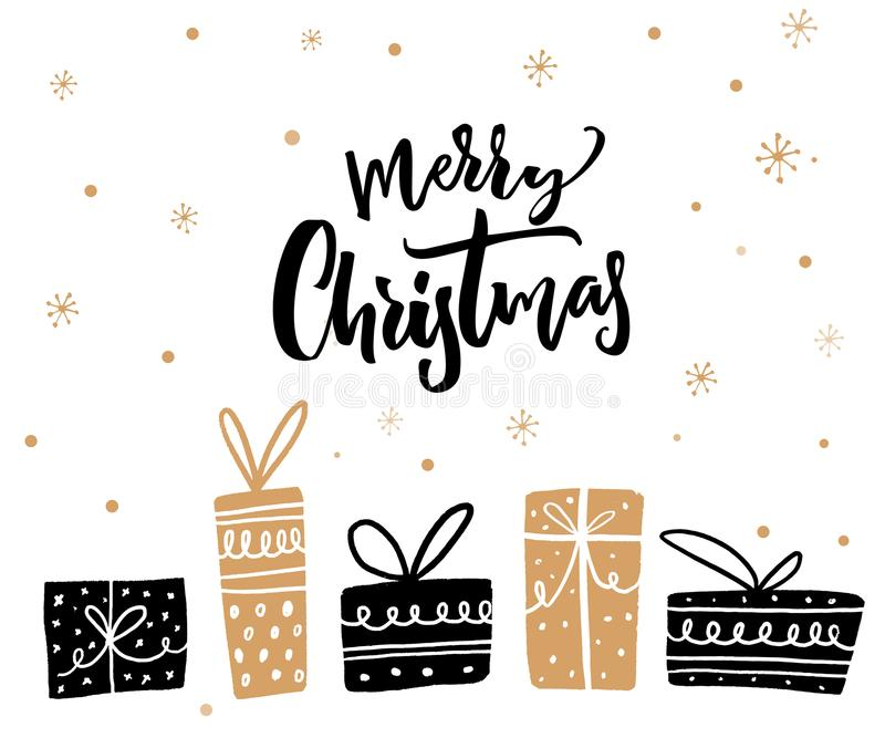 Merry Christmas minimalistic card design with calligraphy text and gift boxes. Black and gold colors vector illustration
