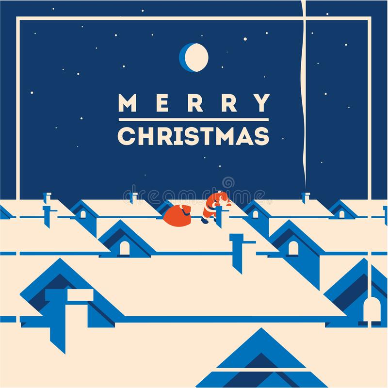Merry christmas minimalistic vector illustration. Flat minialistic vector illustration with santa claus on roof. Christmas vintage hipster poster for party or