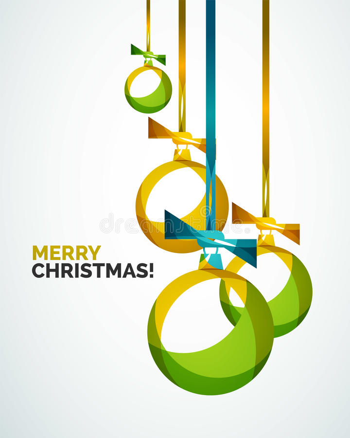 Merry Christmas modern card - abstract baubles royalty free illustration