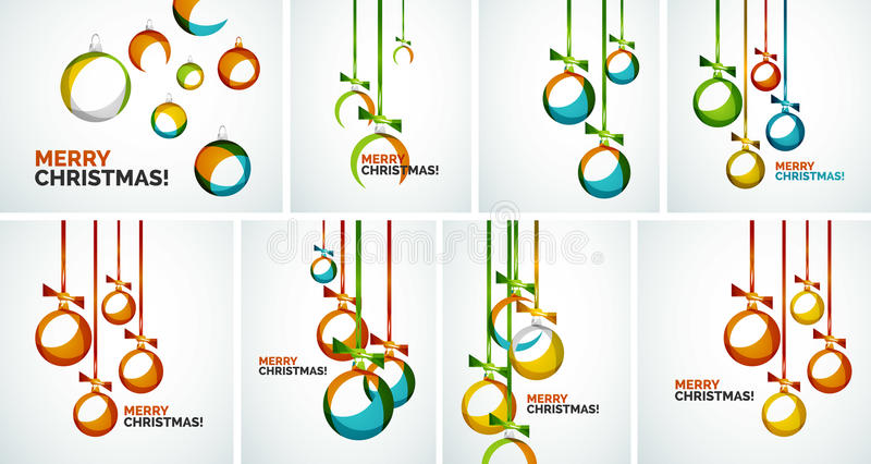 Merry Christmas modern cards - abstract baubles vector illustration