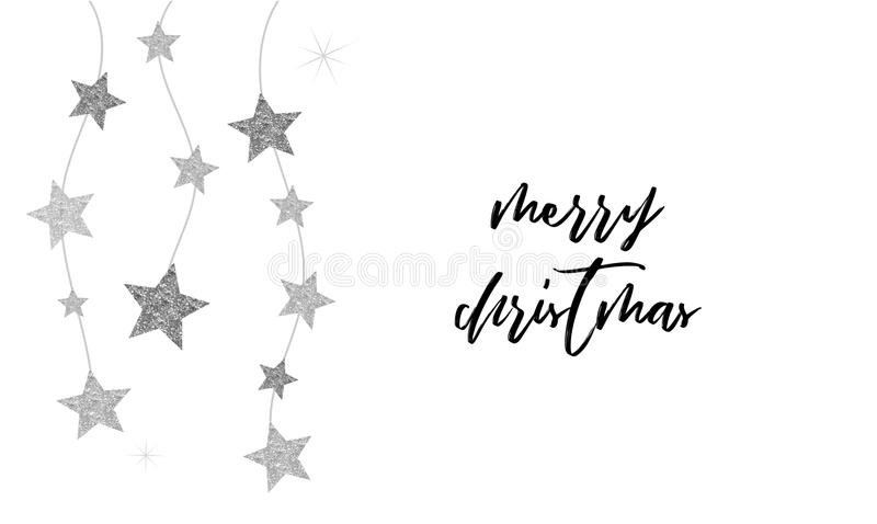 Merry Christmas - clean background with black and silver stars garlands. Merry Christmas - modern, clean background with black and silver stars, garlands stock illustration