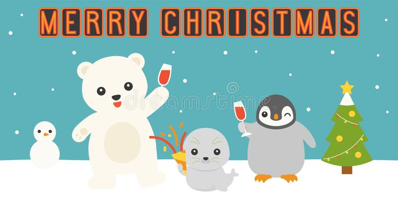 Merry christmas neon light with arctic animals party vector illustration