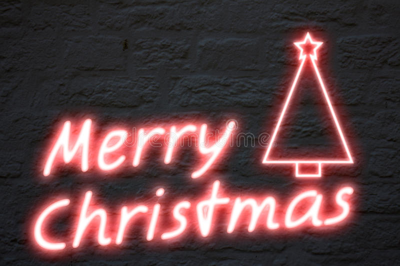Merry Christmas neon lights stock illustration