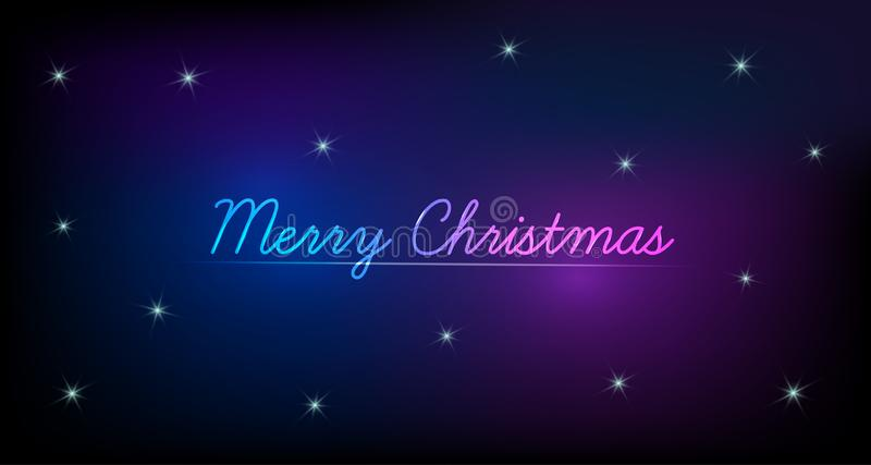 merry christmas neon text design night sky glowing stars vector template xmas greeting banner card galaxy 130836096