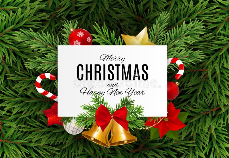 Merry Christmas and New Year Background. Vector Illustration stock illustration