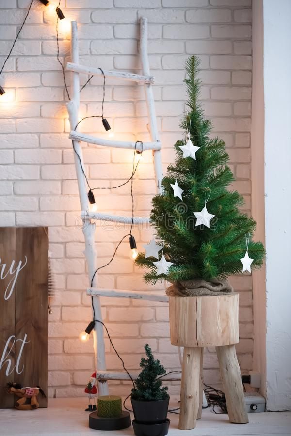 Merry christmas and new year brick wall background. white decor. Loft style.  stock image