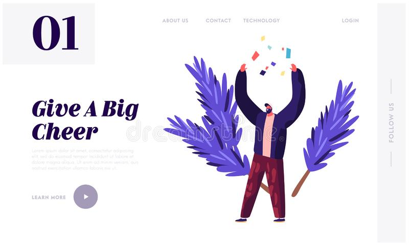 Merry Christmas and New Year Celebration Website Landing Page. Cheerful Man Throw Up Confetti on Festive Background stock illustration