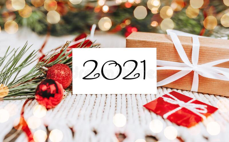 2021 Christmas Ebvent Merry Christmas And Merry New Year Concept With Gift Boxes And Greeting Card With Text 2021 Stock Photo Image Of Christmas Event 202585430