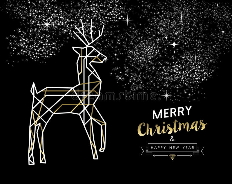 Merry christmas new year deer gold outline deco vector illustration