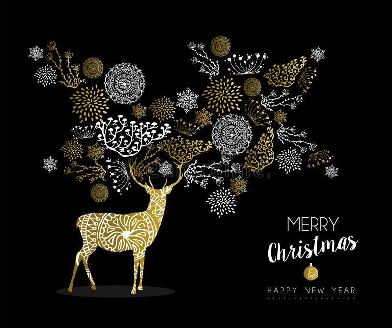 Merry christmas new year gold deer nature vintage royalty free illustration