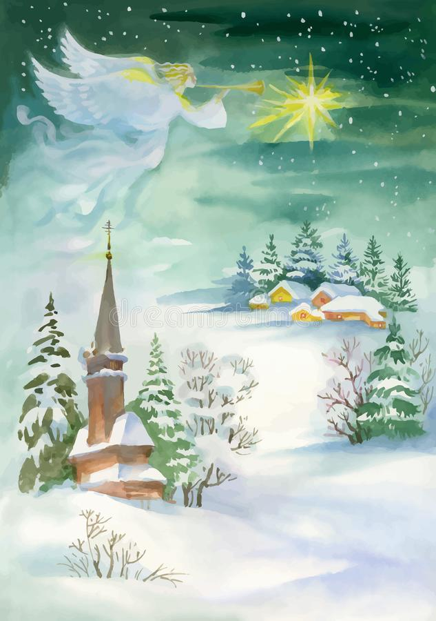 Merry Christmas and New Year Greeting Card with Beautiful Angel with Wings, Watercolor Illustration. stock illustration