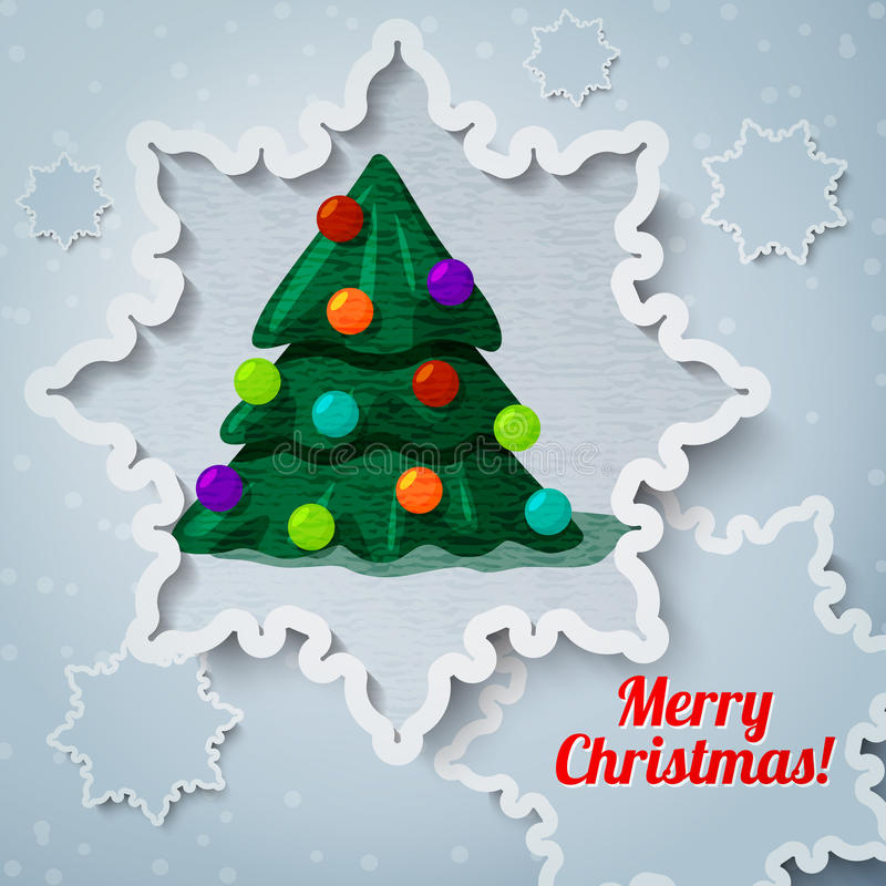 Merry christmas and new year greeting card - paper royalty free illustration