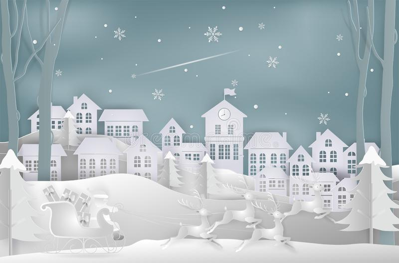 Merry christmas and New Year. Illustration of santa claus is com. Ing to town. Winter snow. minimal greeting card concept. Paper art and digital craft style stock illustration