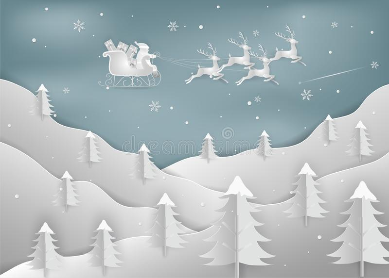 Merry Christmas and New Year. Illustration of Santa Claus with r. Eindeer on the sky. Christmas forest woods with mountains. minimal greeting card concept. Paper stock illustration
