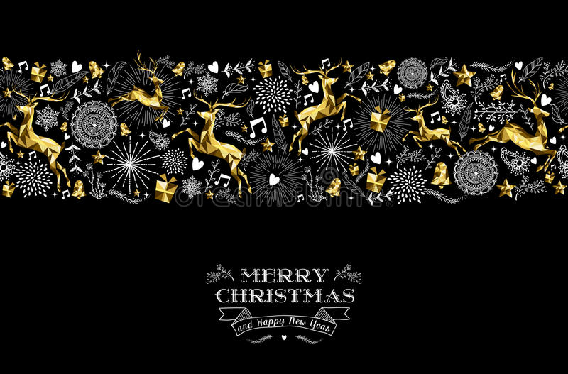 Merry christmas new year label pattern gold deer royalty free illustration