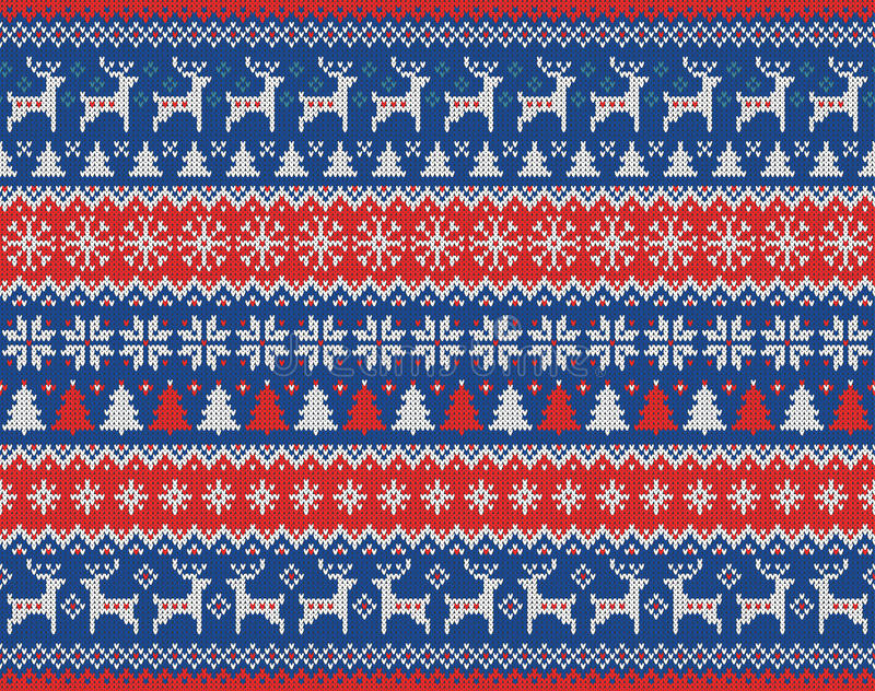 Merry Christmas and New Year seamless knitted pattern with Christmas balls, snowflakes and fir. Scandinavian style royalty free stock photo