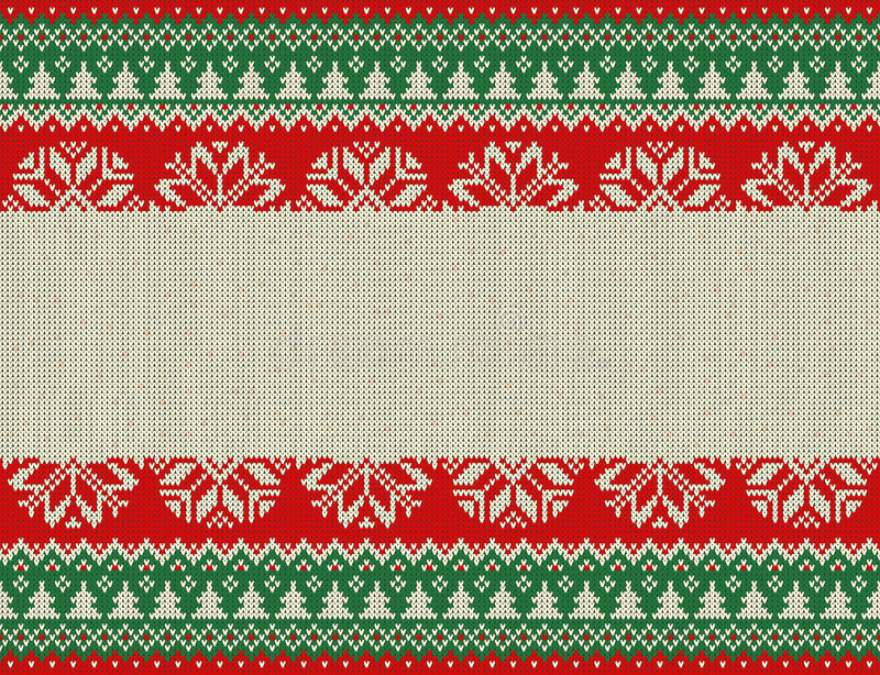 Merry Christmas and New Year seamless knitted pattern with Christmas balls, snowflakes and fir. Scandinavian style. Winter Holiday stock illustration