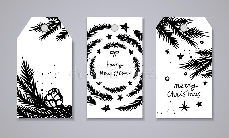 Merry Christmas and New Year tags set royalty free illustration
