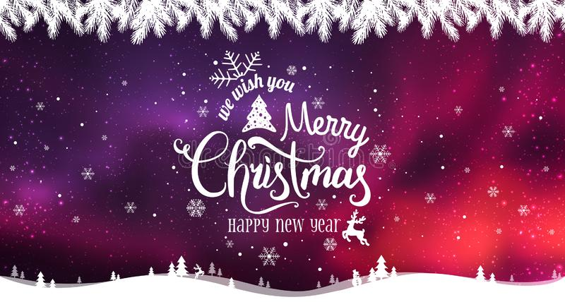 Merry Christmas and New Year typographical on holidays background with winter landscape with snowflakes, light, stars. Vector Illustration. Xmas card vector illustration