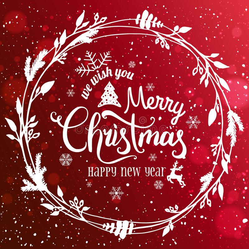 Merry Christmas and New Year typographical on red holiday backgrMerry Christmas and New Year typographical on red background royalty free illustration